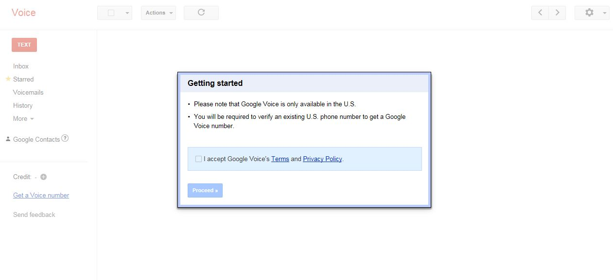 how to create google voice number outside us